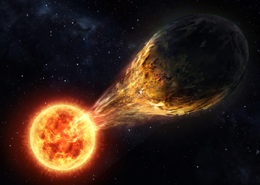 Planet WASP-12b is currently being eaten by its sun