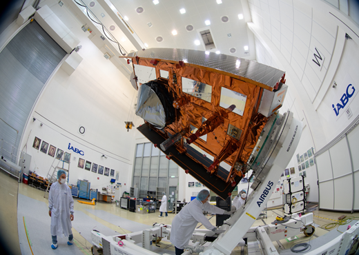 The Copernicus Sentinel-6 Michael Freilich satellite in the cleanroom at IABG's facilities in Germany on 17 July 2020.