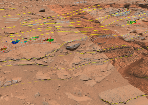 Shaler region of planet Mars with geological annotations done in PRo3D.
