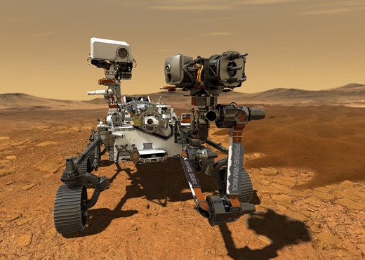 This illustration depicts NASA's Perseverance rover operating on the surface of Mars